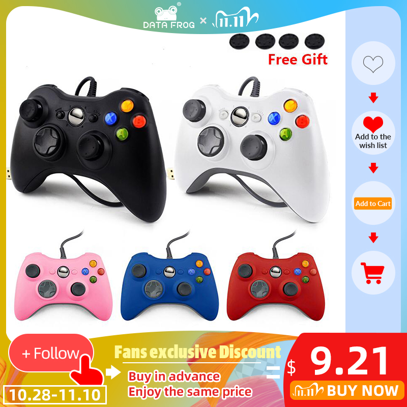DATA FROG Wired USB Gamepad For Xbox 360 Slim Controller For PC Vibration Controller For Windows 7 8 10 Support for Steam Game