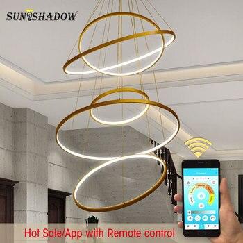 30 40 50 60 70 80cm 6 anillos modernos Led luz colgante para vestíbulo sala comedor dormitorio DIY lámparas colgantes de montaje en techo