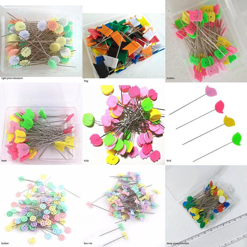 Straight Sewing Pins Quilting Pins Bear Shape Head Patchwork for Sewing Crafts Jewelry Making Quilting Dressmaking DIY Crafts and Arts Multicolor