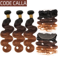 Brazilian Body Wave Bundles With Frontal Pre Plucked Ombre Human Hair Weave Bundles with 13*4 Lace Closure Code Calla Remy Hair