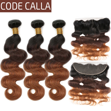 Code Calla Brazilian Remy Body Wave Bundles With Lace Frontal Ombre Brown Color 100% Human Hair Weaving Free Shipping For Women стоимость
