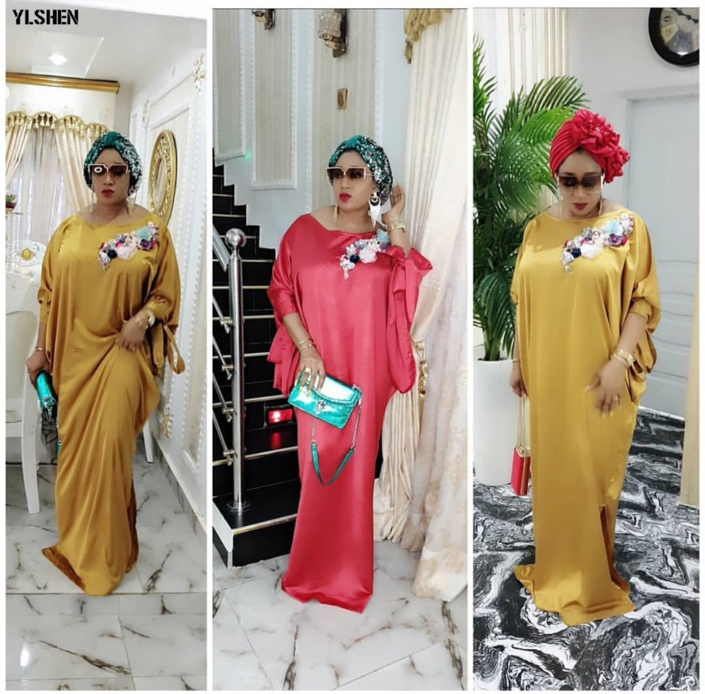 2019 African Dresses for Women Plus Size Boubou Africain Dashik Bow African Clothes New Flowers Robe Africa Dress Outfit Woman 02