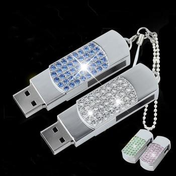 Real Capacity USB Stick Crystal USB Flash Drive 3.0 Jewelry Pendrive 64GB/8GB/16GB/32GB Girl Gift Flash Card 1TB 2TB Pen Drive