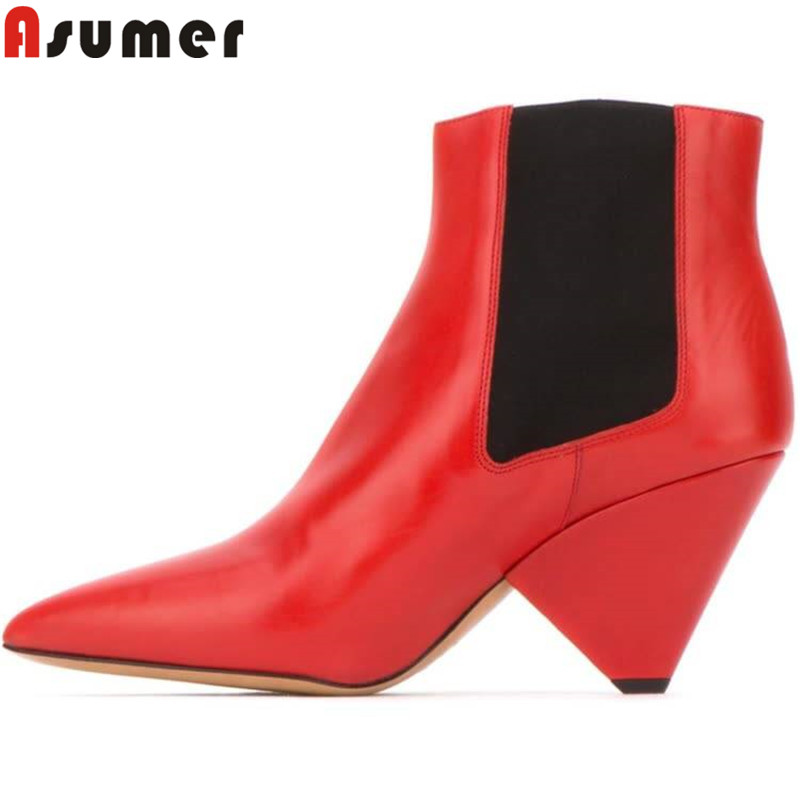 ASUMER 2020 new genuine leather boots fashion ankle boots for women pointed toe slip on spike heels ladies boots big size 34-43