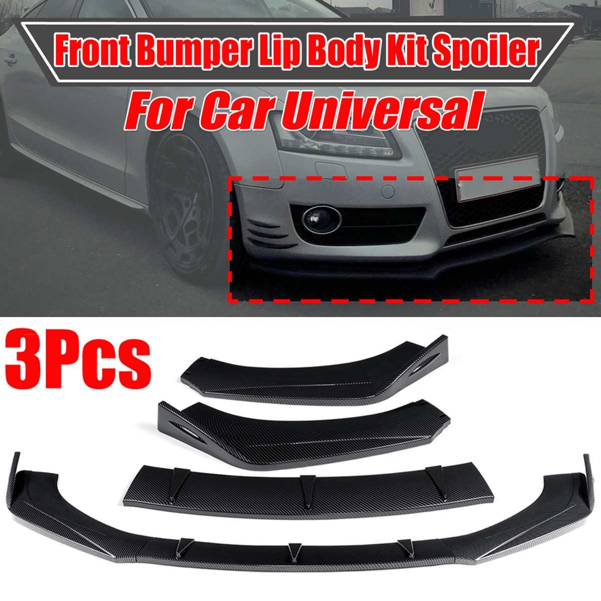 New Universal Car Front Bumper Splitter Lip Body Kit Spoiler Diffuser For Audi A5 Sline S5 RS5 09-16 For BMW For Benz For Mazad