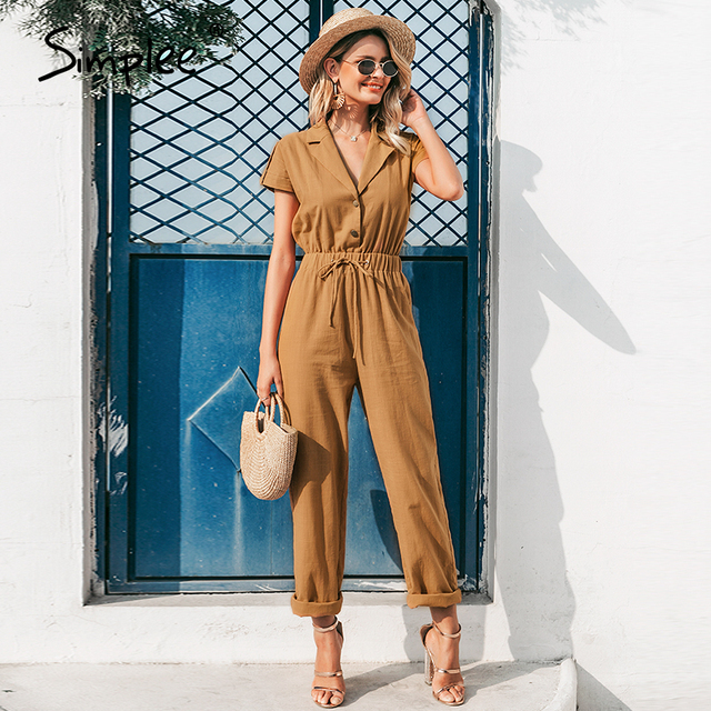 Casual high waist lace up women jumpsuits