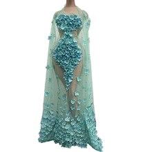 Elegant Rhinestone Floral Mesh See Through Party Dress Women