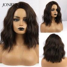 Jonrenau marrom escuro de alta qualidade curto natural onda cabelo sintético perucas com franja lateral para mulher 3 cores para escolher