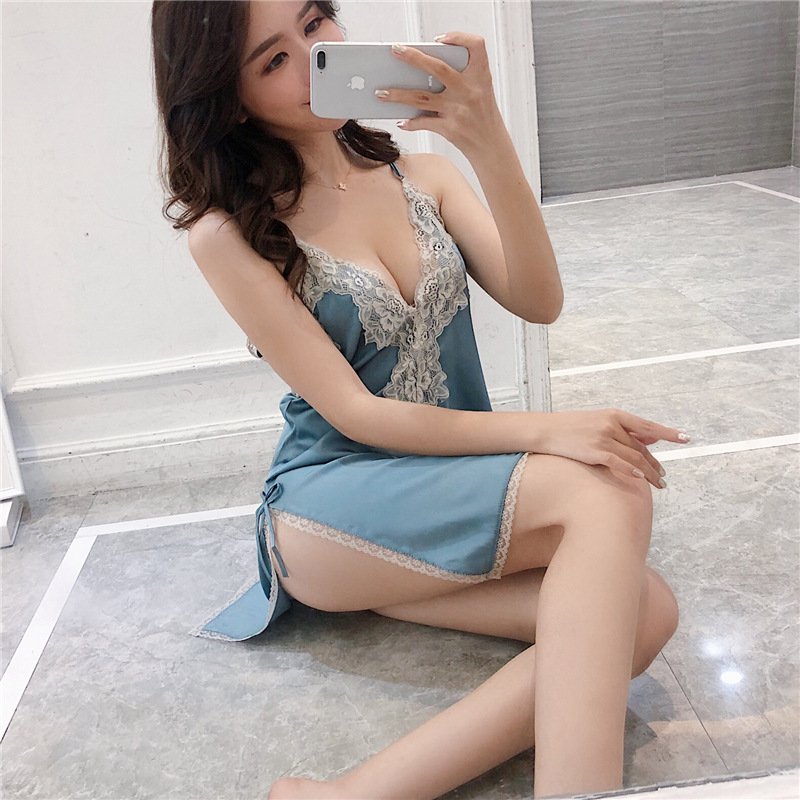 2019 Women Backless   Nightgowns     Sleepshirts   Nightshirts Silk Sleepwear Satin Split Spaghetti Strap Nightdress Lace Nightwear