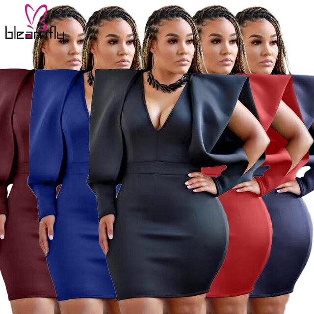 $ US $19.82 Sexy Cut Out Long Sleeve Bodycon Dress Women Deep V Neck Wrap Mini Dresses Plus Size Party Club Night Vestidos Skinny Fall Robe