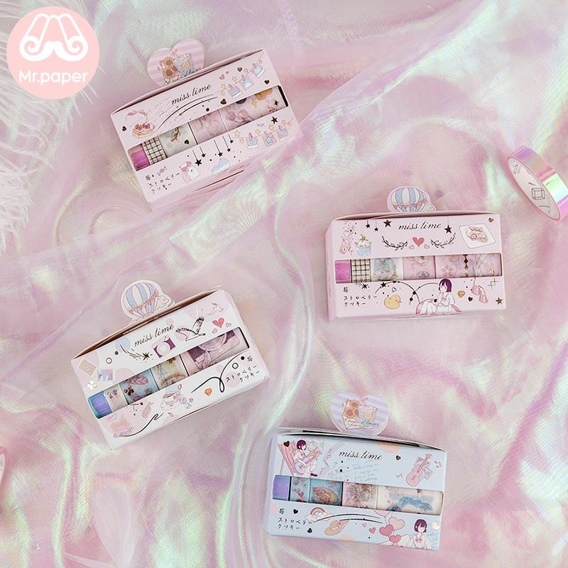 Mr Paper 5pcs/box 4 Designs Gold Stamp Pink Strawberry Bullet Journaling Washi Tape Scrapbook Deco Masking Tapes Child Gifts