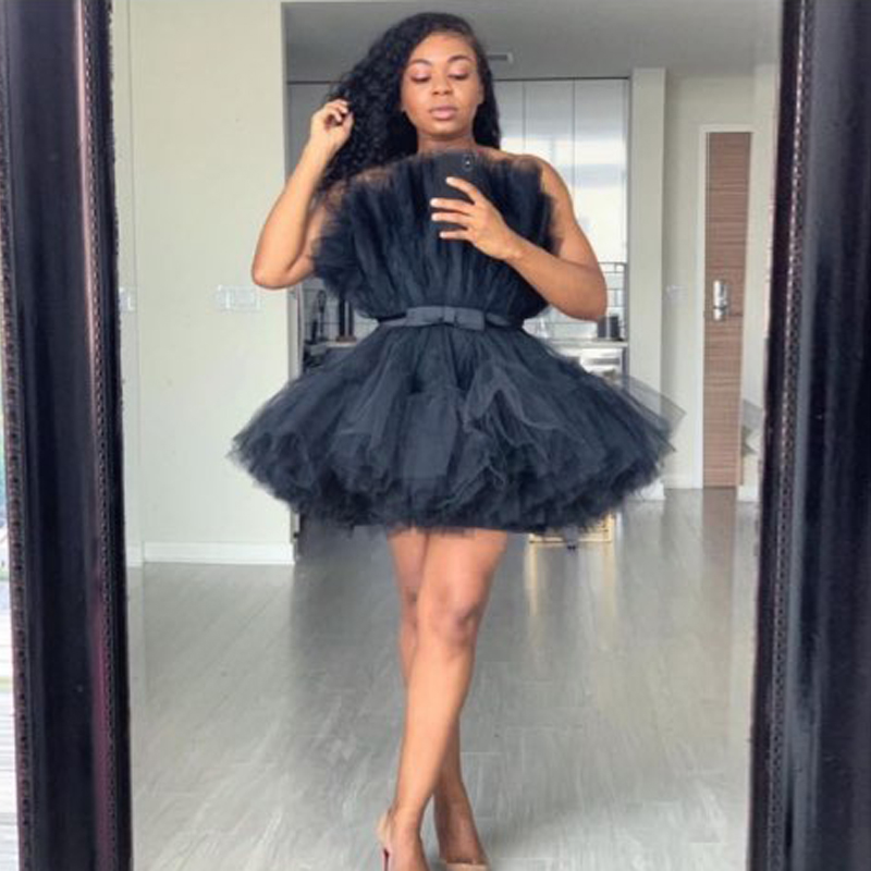 Black Short Prom Gowns Formal Dresses Lush Puffy Tulle Above Knee Cocktail Party Dress Occasion Gown robe de soiree Abendkleider