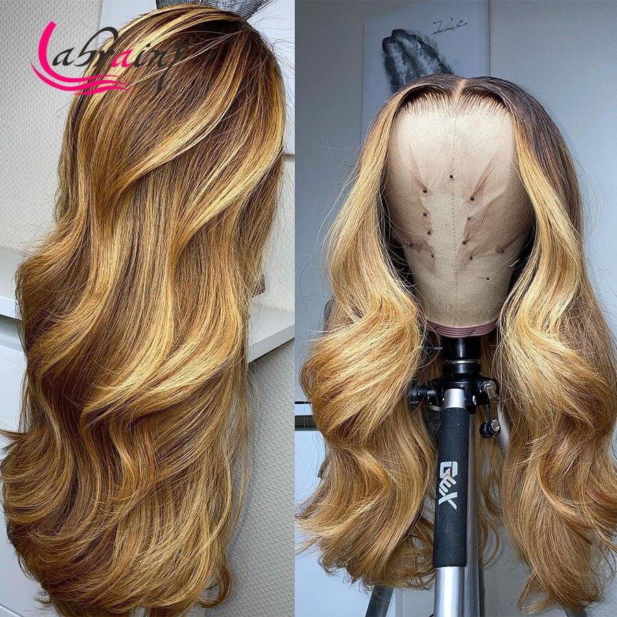 HD прозрачные 13X6 Выделенные человеческие волосы на сетке спереди, парики, волнистые на сетке спереди, медовая блондинка, предварительно выщи...