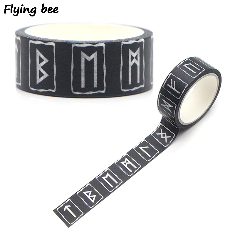 Flyingbee 15mmX5m Viking Rune Washi Tape Paper DIY Decorative Adhesive Tape Stationery Black Masking Tapes Supplies X0271