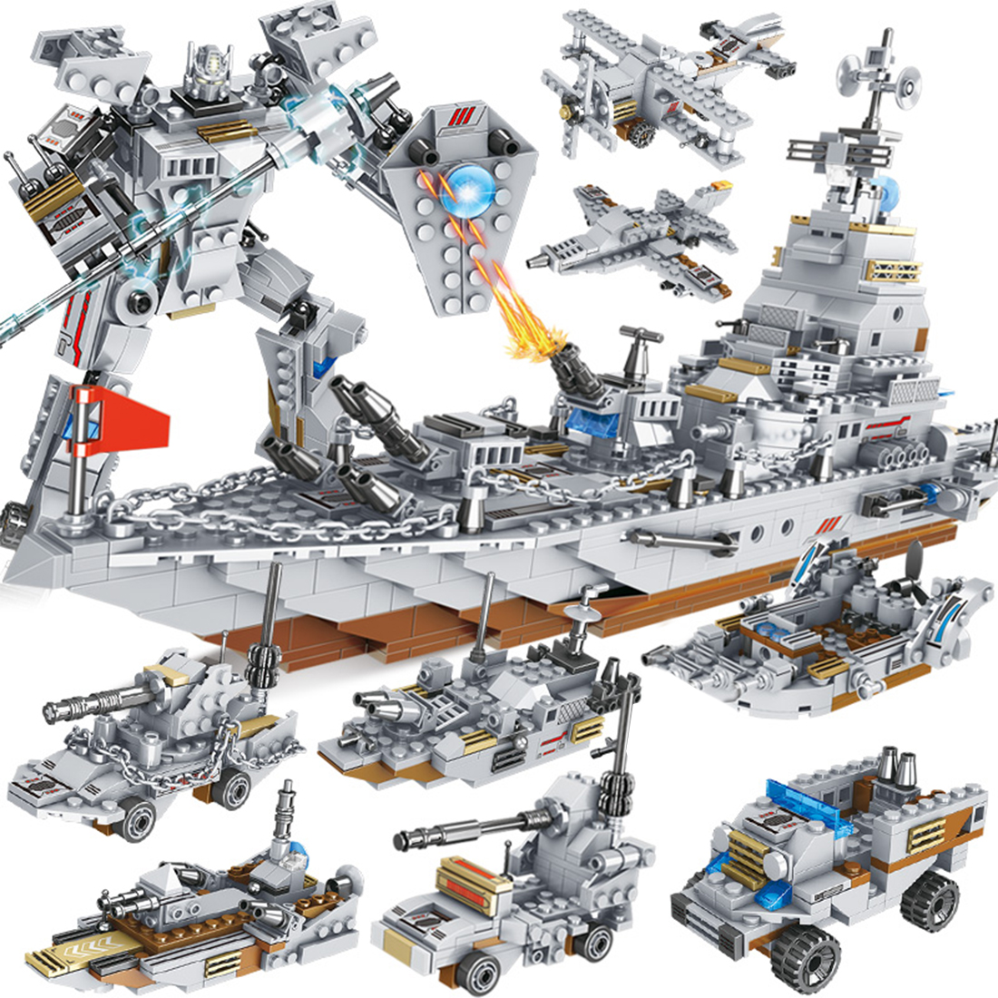 <font><b>1000</b></font>+<font><b>Pcs</b></font> 8 Styles Modern Military Cruiser Model DIY Building Kit MOC Model Toy image