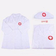 Nurse Uniform Halloween Kids Doctor Costume Children Kindergarten Performance Cosplay Hospital Coat with Cap
