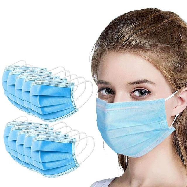 10pcs/50pcs/100pcs Fast Shipping Anti-pollution Filter Dust Face Mask Disposable 3 Ply Non-woven Meltblown Masks 1