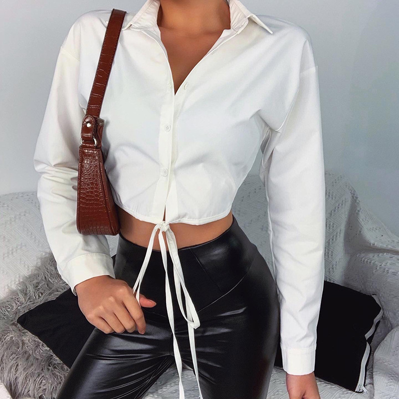 Women's Blouse Shirt Crop Tops Fashion Casual Spring Summer Long Sleeve Button Lace Up Shirts Slim Fit Top