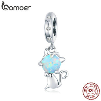 Bamoer Genuine 925 Sterling Silver Opal Cat Animal Pendant Charm Fit Original Bracelet Or Necklace DIY Jewelry Making BSC235