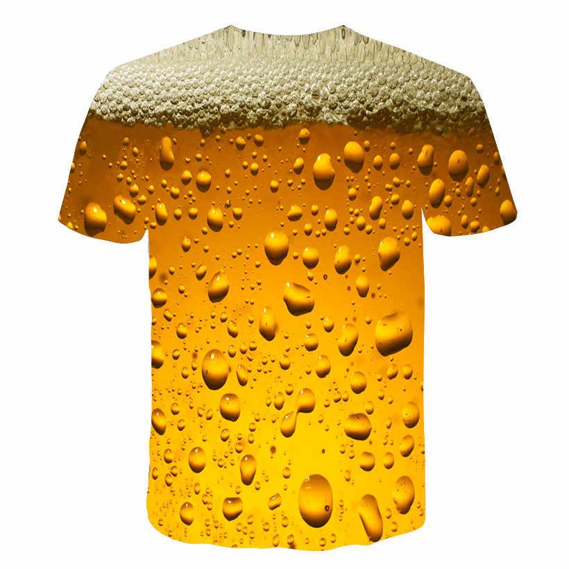 여름 남성 t-셔츠 3D 맥주 시간 반팔 소설 워터 마크 o-넥 탑 t-셔츠 재미 있은 3D 인쇄 streetwear t-셔츠