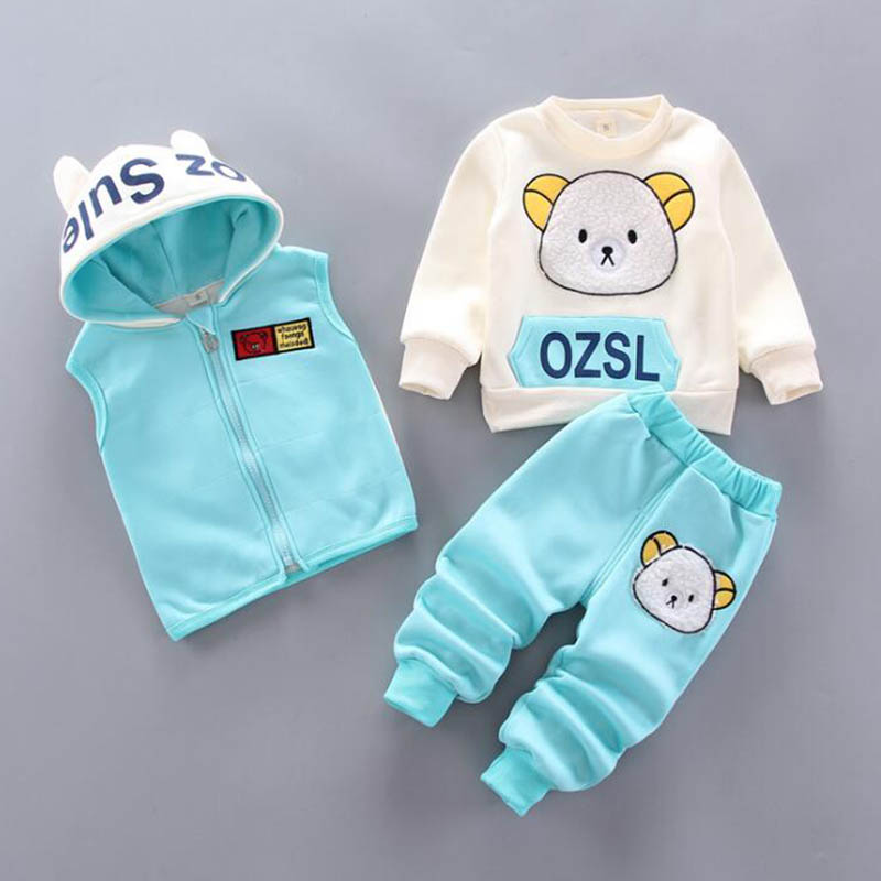 Baby Boys And Girls Clothing Set Tricken Fleece Children Hooded Outerwear Tops Pants 3PCS Outfits Kids Toddler Warm Costume Suit 4