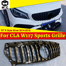 For Ben CLA W117 Sports grille grill GTS style ABS Silvery CLA180 CLA200 C250 CLA45 look Front Bumper Grills without sign 14-18
