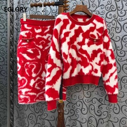 Zwei Stück Pullover Anzüge 2020 Frühling Herbst Strickwaren Frauen Geometrische Muster Gestrickte Pullover + Mid-Kalb Gestrickte Rock Set casual