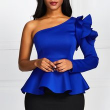 Blue Oblique Collar Blouse Women One Shoulder Slim Ruffle Long Sleeve Shirt Sexy Office Lady Party Solid Tops Plus Size 2XL long sleeve ruffle skinny one shoulder bodysuit