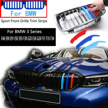 3pcs For BMW Series 3 E46 E90 E91 E92 E93 F30 G20 E36 G28 F31 F35 F34 1996-2020 M Performance Car Front Grille Trim Strips Cover image