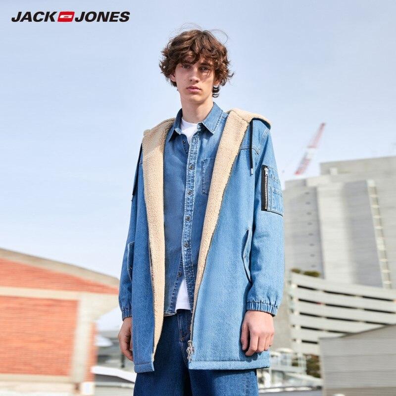 JackJones Men's Mid-length Style Hooded Berber Fleece Denim Jacket Menswear| 219357513
