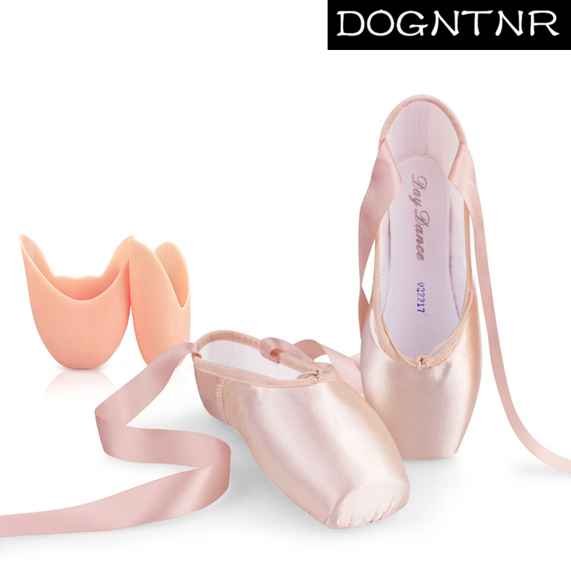 Noble Elegant Silk Dance Shoes Girls Women Pink Professional Ballet Shoes Dancing Shoes With Sponge / Silicone Foot Pads