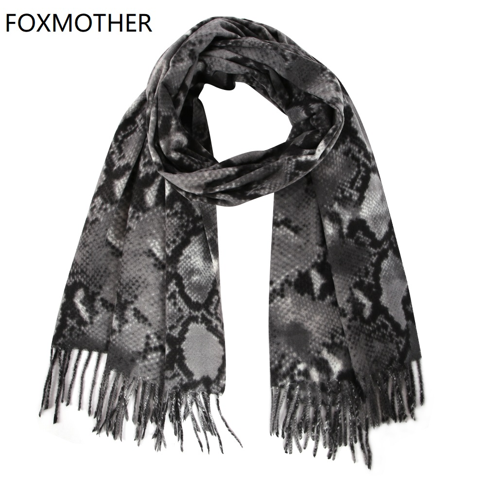 FOXMOTHER New Fashion Winter Scarves Women Snake Print Scarf Cashmere Shawl Wrap Pashmina Ladies 2019 Sjaals Tassels Foulard