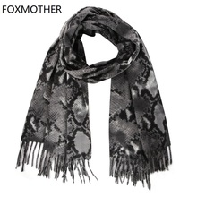 FOXMOTHER New Fashion Winter Scarves Women Snake Print Scarf Cashmere Shawl Wrap Pashmina Ladies 2019 Sjaals Tassels Foulard