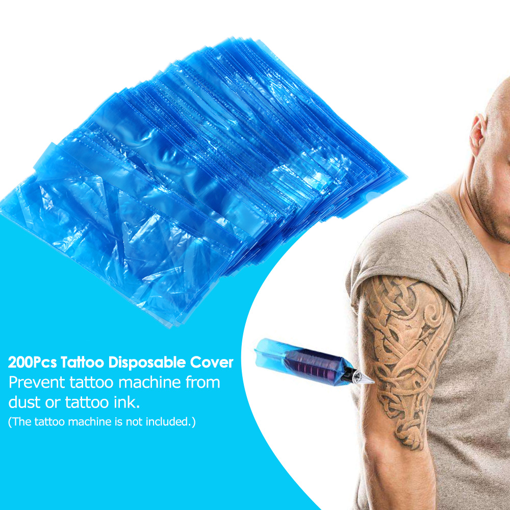 200Pcs/pack Blue Disposable Blue Tattoo Clip Cord Sleeves Bags Covers Bags For Tattoo Machine Tattoo Accessory Permanent Makeup