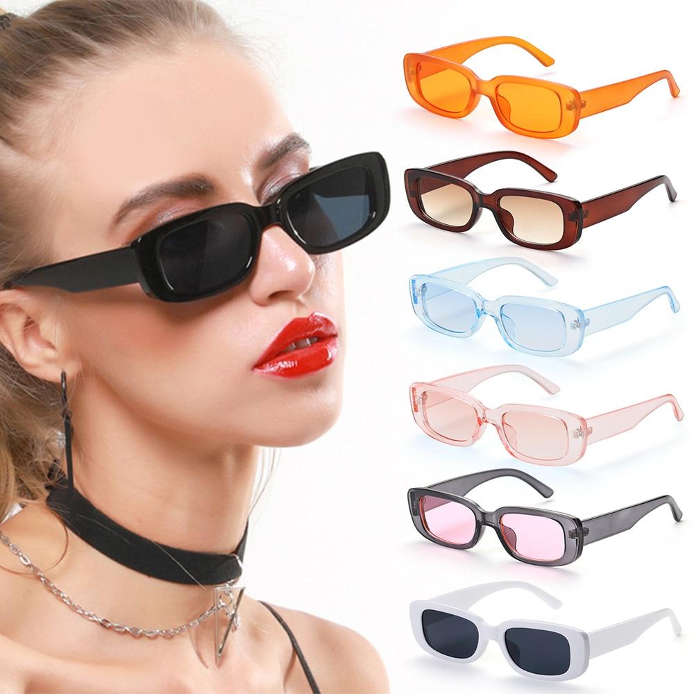 Occhiali da sole da donna retrò montatura rettangolare piccola occhiali da sole protezione UV400 occhiali da viaggio estivi occhiali da spiaggia alla moda 1