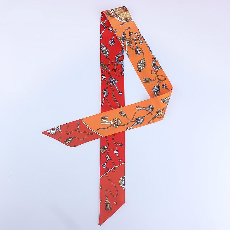 2020 Fashion Women Neck Scarf Floral Print Silk Bag Scarves Skinny Foulard Lady Hair Accessories Ribbon Band Long Headwear Tie