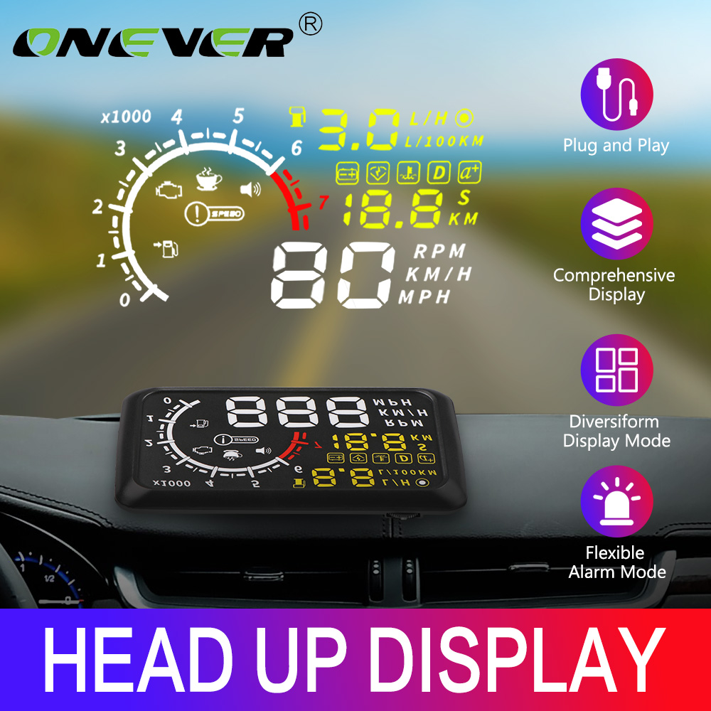 Onever Auto HUD 5.5'' Head Up Display Car Speed Projector OBD2 II EUOBD Overspeed Warning Windshield Projector Alarm System
