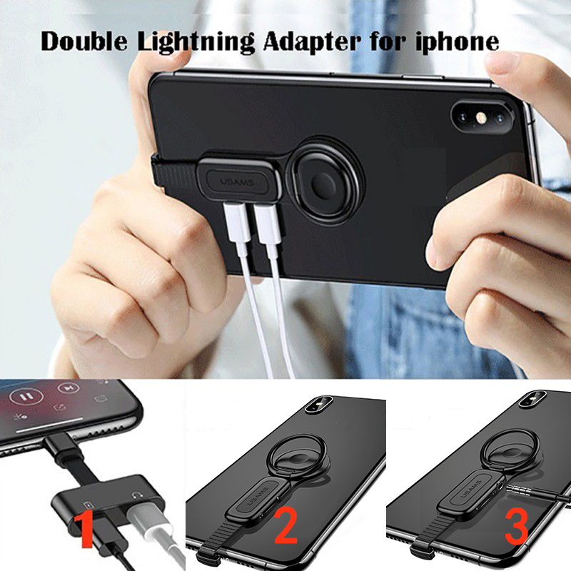 Dual Adapter & Ring Holder USAMS 3.5mm Audio&charger Adjust Phone Holder Fast Charging For IPhone IOS Adapter OTG