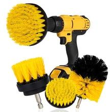 3Pcs/Set Electric Scrubber Brush Drill Brush Kit Plastic Round Cleaning Brush For Carpet Glass Car Tires Nylon Brushes 2/3.5/4''