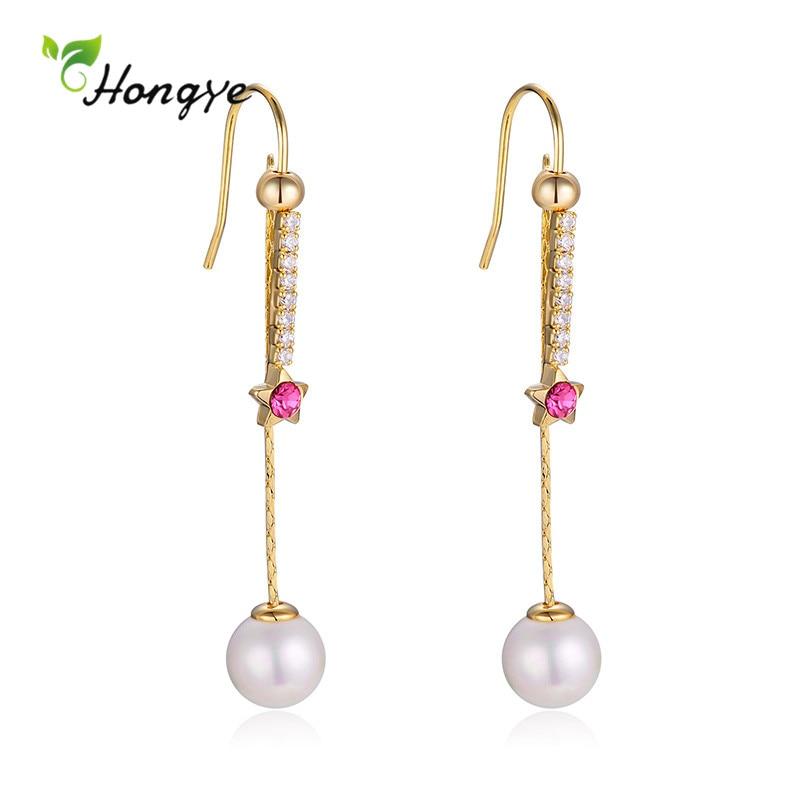 Hongye Fashion Long Tassel Pearl Drop Earrings for Women Lady Metal Star Pendant Red Zircon Party Brincos Jewelry Wholesale
