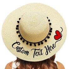 Chapéu de palha de borda grande chapéu de palha de praia ao ar livre preto pompon nupcial festa