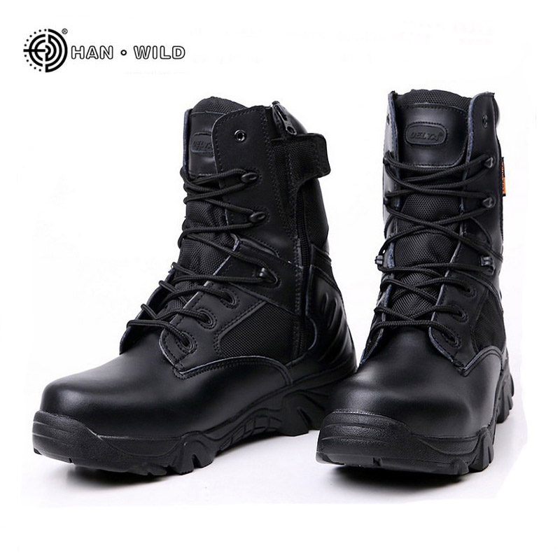 Tactical Army Boots For Men Winter Genuine Leather Waterproof Rubber Men's Boots Safety Work Shoes Military Combat Ankle Boots