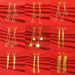 Simple fashion Pure gold color geometric drop earrings for women fashion 24k gold Filled Dangle earrings wedding women jewelry
