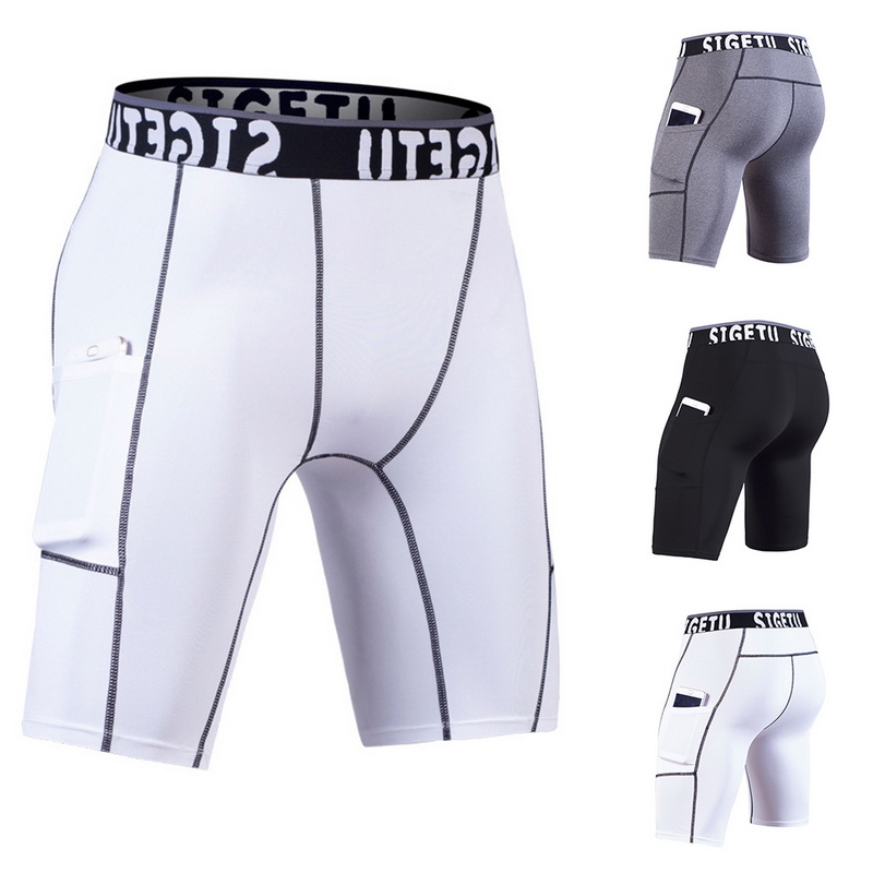 Summer Men Training Fitness Shorts Quick Drying Compression Shorts With Pockets Men Sporting Gym Shorts Nice Pop Tight Shorts