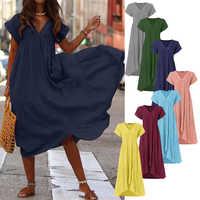 Plus Größe Rüschen Kleid frauen Sommerkleid Asymmetrische ZANZEA 2019 Mode Sommer Maxi Vestidos Weibliche Kurzarm Robe Femme 5XL