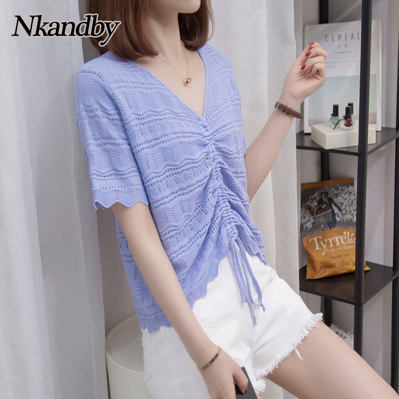 Nkandby Plus Size Summer Women Short T Shirt Fashion Sweet Hollow Out Ice Silk Shirring T-shirt Solid Color Short Sleeve Tops