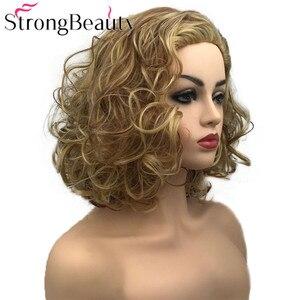 Image 3 - StrongBeauty מתולתל נשים פאה קצר סינטטי עמיד בחום פאות נשים יומי או קוספליי שיער