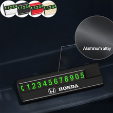 Metal Car Temporary Parking Card Phone Number Card Telephone Number Plate Auto Accessories for Honda Accord Civic XR-V HR-V Fit