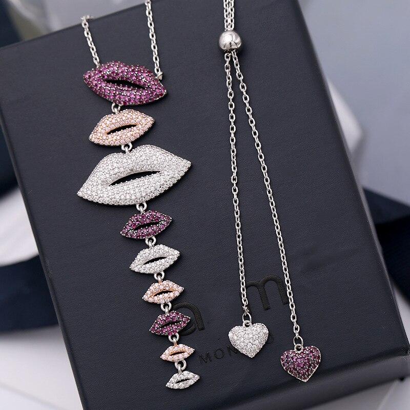 Marque de luxe bijoux femmes collier S925 argent sterling rouge émail brûlé vert frangé croix chandail chaîne