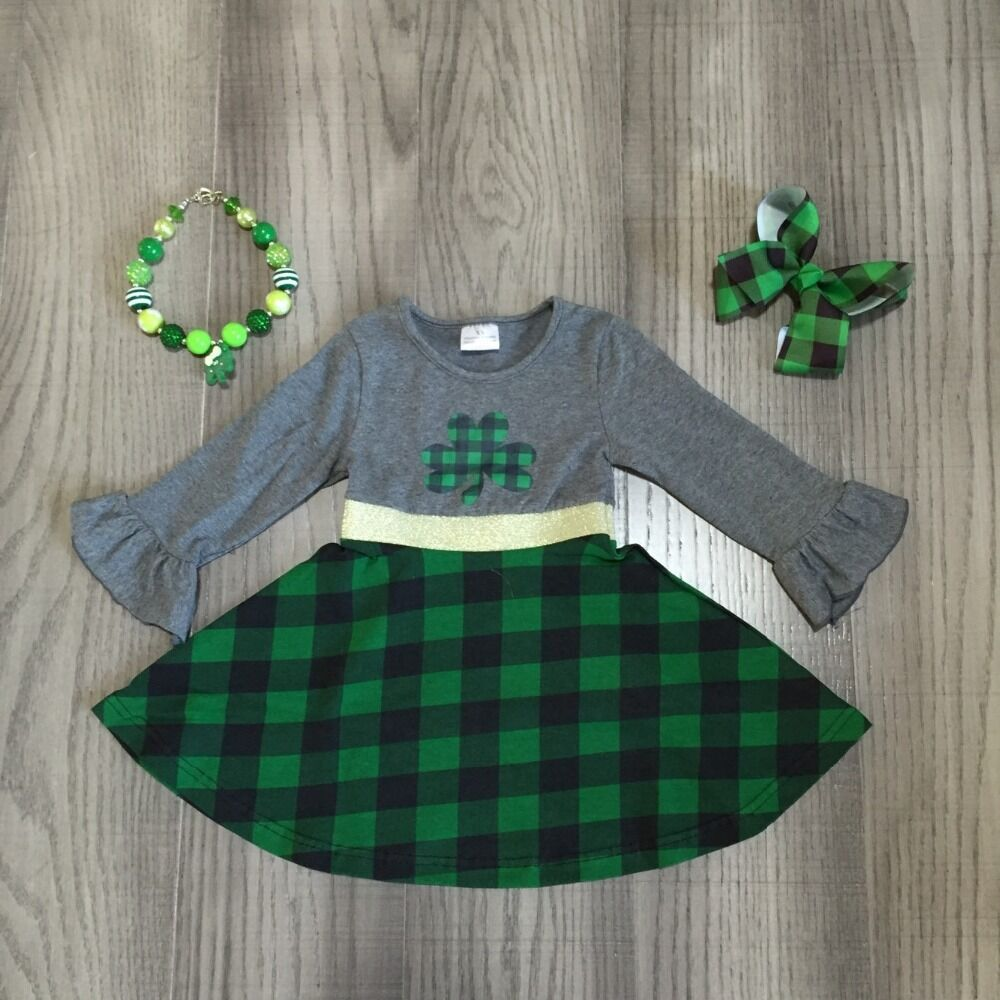 Baby Girl Clothes Girls St Patrick's Day Dress With Clover Print Girls Green Plaid Dress With Accessories